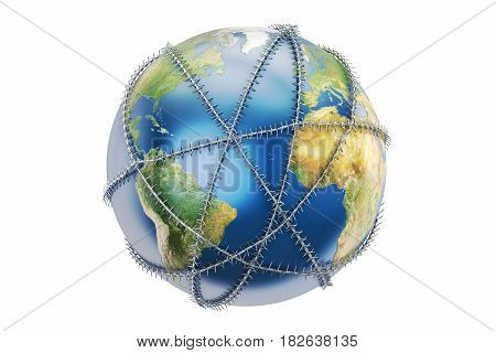 Earth globe with barbed wire 3D rendering
