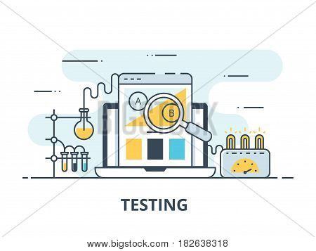 Software testing flat icon. Software testing vector illustration. Flat design. Software testing successful. AB testing split comparison web design