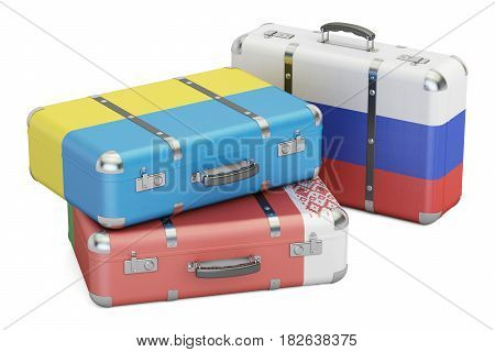 Travel concept suitcases with flags of Russia Ukraine and Belarus. 3D rendering