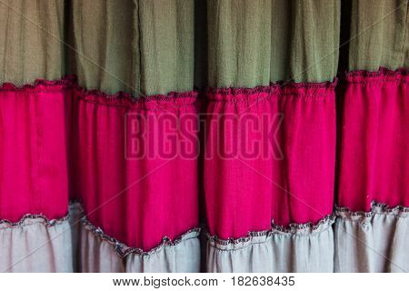 Old Colorful Textile Curtain Or Drapery