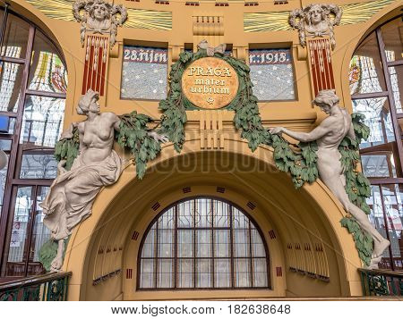 PRAGUE, CZECH REPUBLIC - MARCH 5 2017: Part of restored historical interior of the main railway station in Prague, Czech Republic