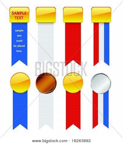 Vector USA Patriotic Ribbed Ribbons Set I