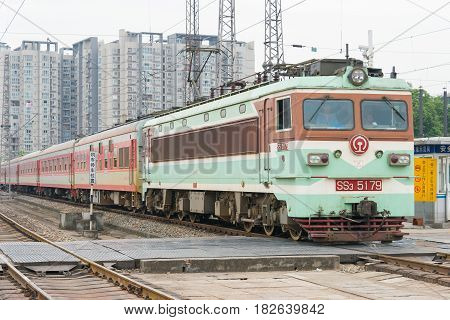 Sichuan, China - Jun 08 2015: China Railways Ss3 Electric Locomotive In Chengdu Railway Station, Sic