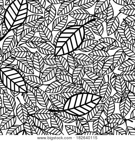 seamless pattern of leaves in black and white
