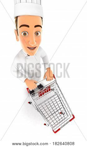 3d head chef empty supermarket trolley illustration with isolated white background