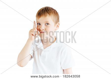 Little Boy Show Emotions On White Background