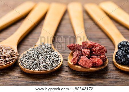 Superfoods: Flaxseeds Chia Seeds Goji Berries And Aronia Berries