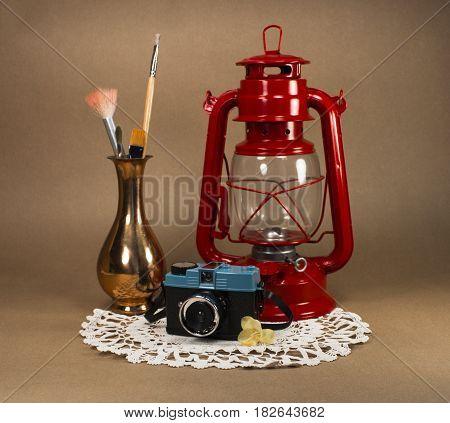 Oil lamp - camera - glasses - copper vase