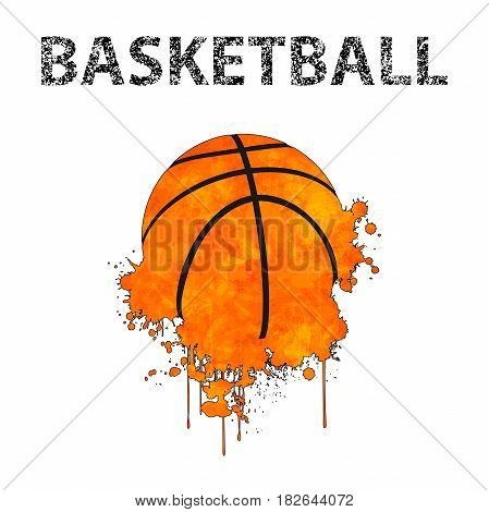 Illustration of basketball as a stain on a white background.