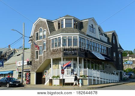WOODS HOLE, MA, USA - JULY. 3, 2015: Historic Building in downtown Woods Hole, Town of Falmouth, Massachusetts, USA.