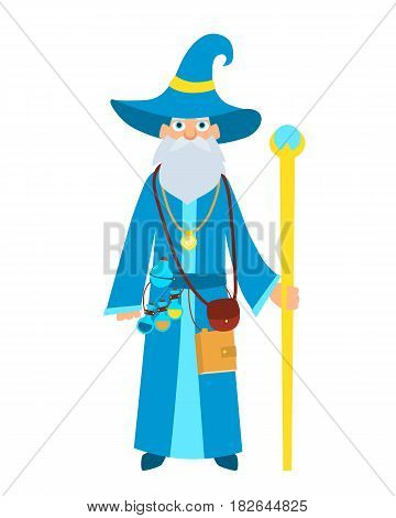 Cute old wizard with a magic stick. Vector illustration