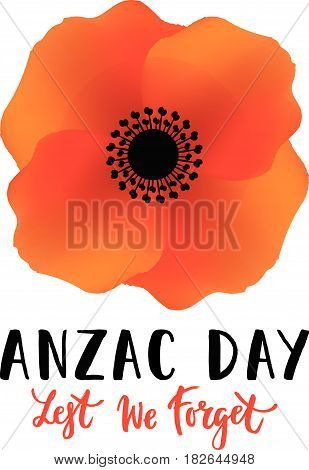 Vector illustration of a bright poppy flower. Remembrance day symbol. Anzac day lettering. Lest we forget lettering.
