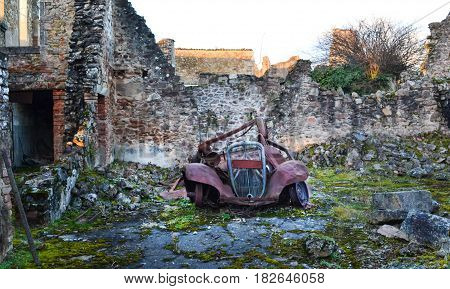 Ruined city of Oradour sur Glane in June 1944, France