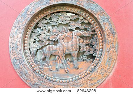 Inner Mongolia, China - Aug 13 2015: Relief At Guanyin Temple. A Famous Historic Site In Hohhot, Inn