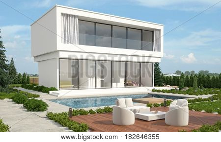 Modern luxury designer built home with a double storey white villa facing a sparkling swimming pool in a landscaped garden with table and chairs on a paved patio. 3d Rendering.