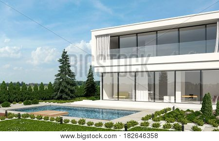 Contemporary luxury white double storey villa with neat landscaped garden and swimming pool with a sunny outdoor patio surrounded by evergreen fir trees. 3d Rendering.