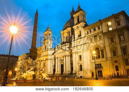 The church on Piazza Navona at night , Rome, Italy