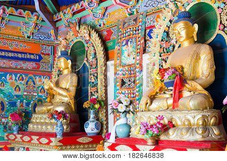 Inner Mongolia, China - Aug 13 2015: Budda Statues At Five Pagoda Temple(wutasi). A Famous Historic