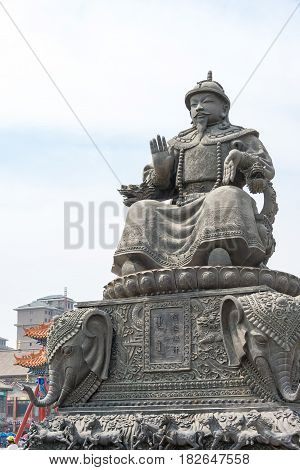 Inner Mongolia, China - Aug 13 2015: Statue Of Altan Khan (alatan Khan) In The Dazhao Lamasery. A Fa
