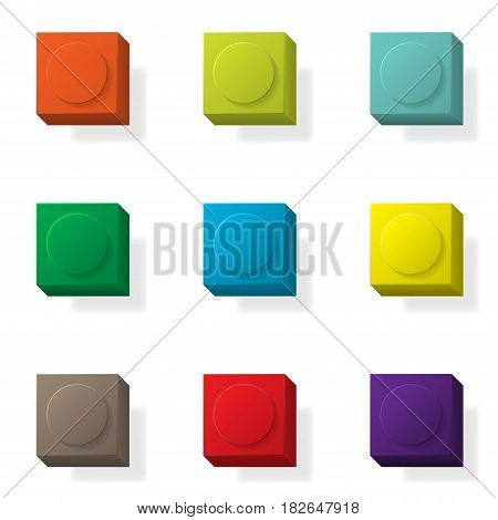 Set of nine 3d constructor elements different colors
