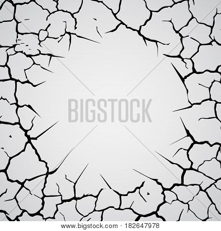 Gray gradient background with different black cracks