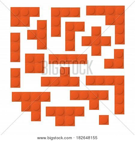 Different forms orange constructor elements isolated on white background