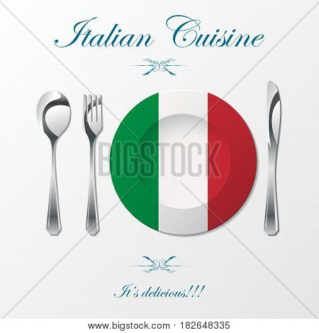 Silhouette of knife, fork, spoon and plate with italian flag