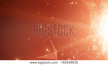 Abstract vector space red background. Chaotically connected points and polygons flying in space. Flying debris. Futuristic technology style. Elegant background for business presentations.
