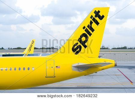 FORT LAUDERDALE FLA/USA - APRIL 15 2017: Spirit Airlines jet airplane. Spirit Airlines Inc. is an American low cost carrier.