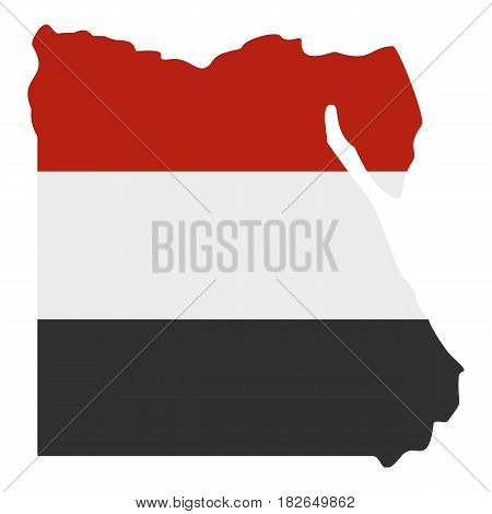 Map of Egypt in Egyptian flag colors icon flat isolated on white background vector illustration