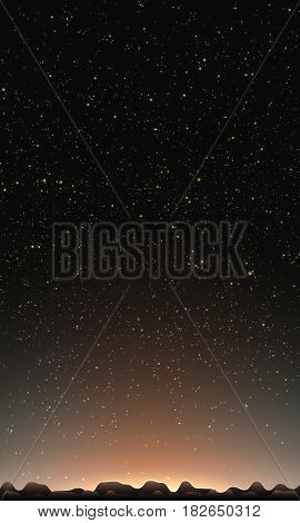 Night sky with stars. Abstract vector background with mountain landscape and sky with stars. Glow of sun behind the mountains. Morning on distant planet. Sparkles of alien stars on the background.