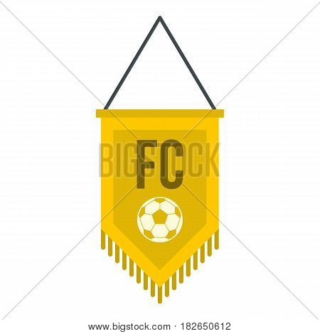 Yellow pennant with soccer ball icon flat isolated on white background vector illustration