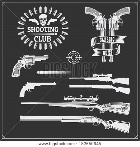 Collection of Guns. Revolvers, shotguns and rifles. Gun club labels and design elements.