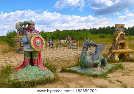 Berendeyevo, Moscow region, Russia, 26 July 2014, summer landscape with fairy tale characters. Public Park in the Summer.