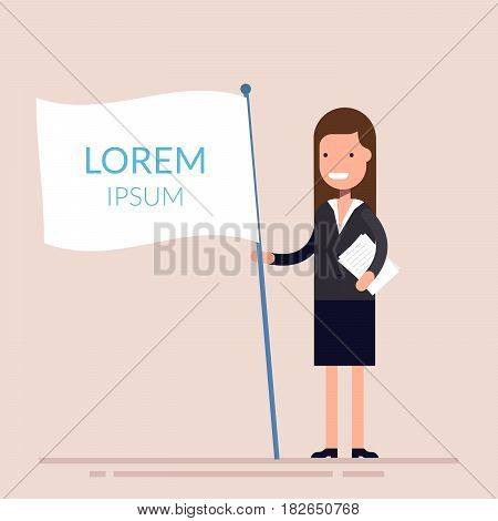 Manager or businesswoman holding a white flag in hand. Flat character isolated on background. Lorem ipsum. Vector illustration
