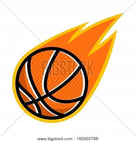 Basketball sport comet fire tail flying logo