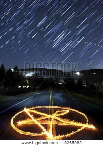 Pentagram And Star Trails