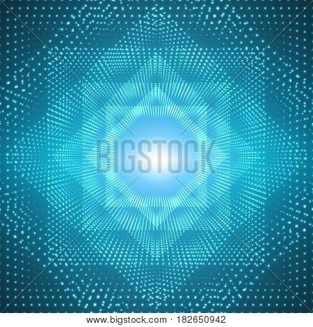Vector infinite polygonal tunnel of shining flares on blue background. Glowing points form tunnel sectors. Abstract cyber colorful background for your designs. Elegant modern geometric wallpaper.