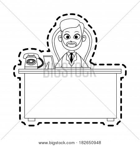 male bearded doctor and desk icon image vector illustration design