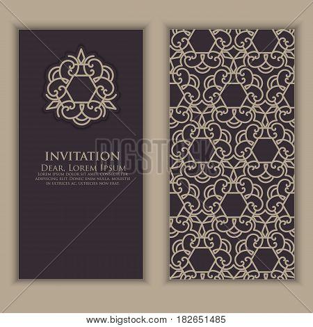Invitation, cards with ethnic arabesque elements. Arabesque style design. Business cards. Elegant ornate damask background. Elegant floral abstract ornament. Design template.