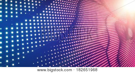 Abstract vector violet background with shining neon lights. Neon sign with abstract image in perspective. Glowing particles. Elegant modern background for business presentations.