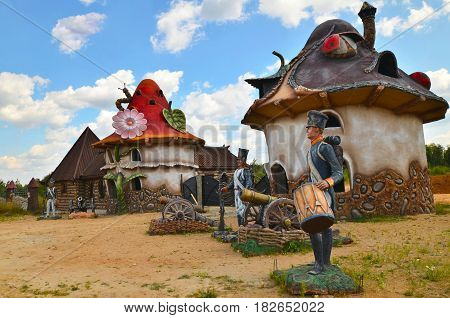 Berendeyevo, Moscow region, Russia, 26 July 2014, summer landscape with fairy tale characters. Public Park beside the road.