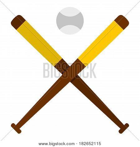 Baseball bats and baseball icon flat isolated on white background vector illustration