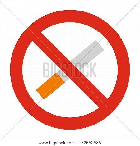 No smoking icon flat isolated on white background vector illustration
