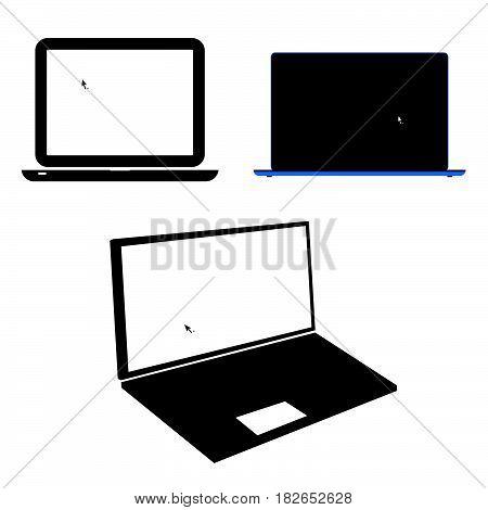 laptop set technology modern art illustration on white