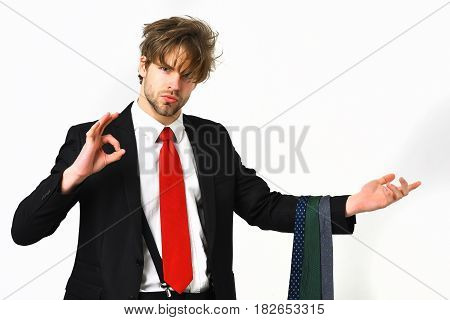 Bearded Macho Stylish Manager In Elegant Suit With Ties