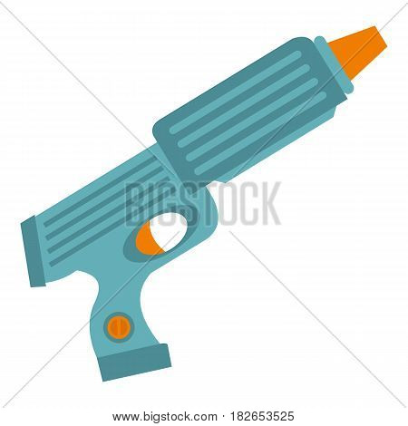 Blue plastic water gun icon flat isolated on white background vector illustration
