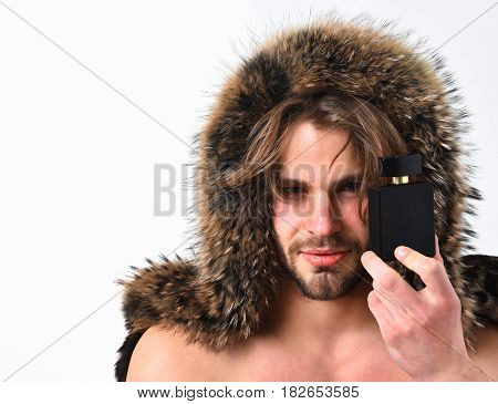 Bearded Macho Man In Fur Coat Isolated On White Background