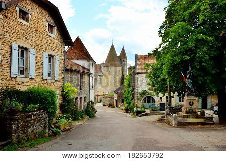 View Down A Medieval Street To The Castle At Chateauneuf, Burgundy, France
