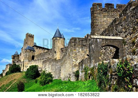 Ancient Walls Of The Castle At Carcassonne, France